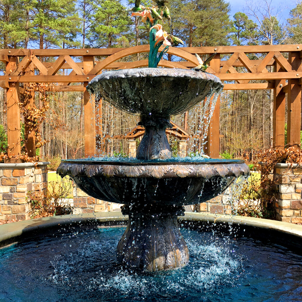 SRB099887 Bronze Two Tier Hummingbirds Fountain by Metropolitan Galleries Inc for Memorial Garden of Lynda Petty