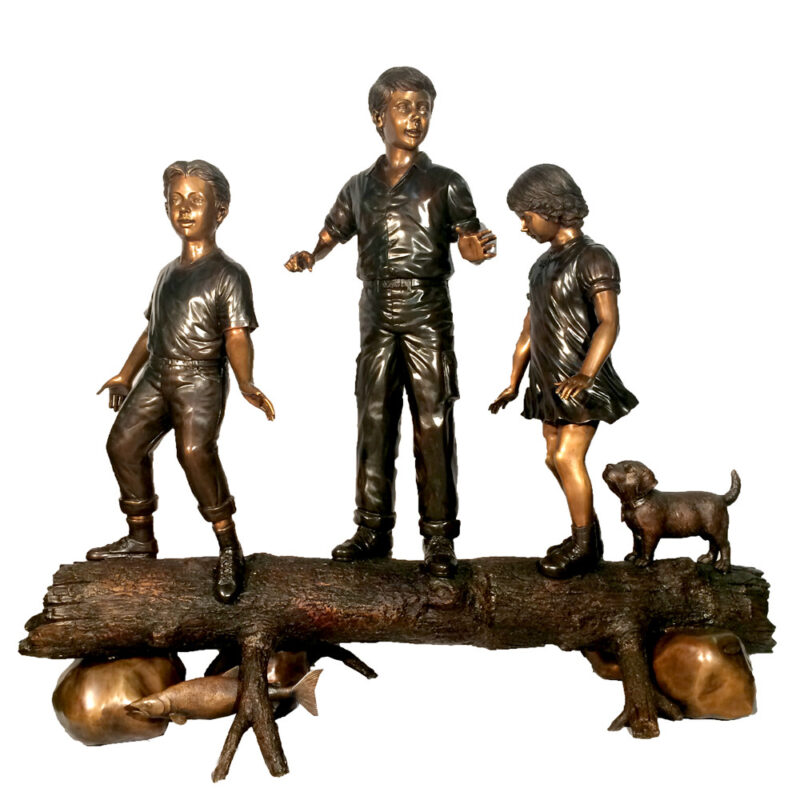 Bronze Children and Dog on Log Sculpture Metropolitan Galleries Inc.