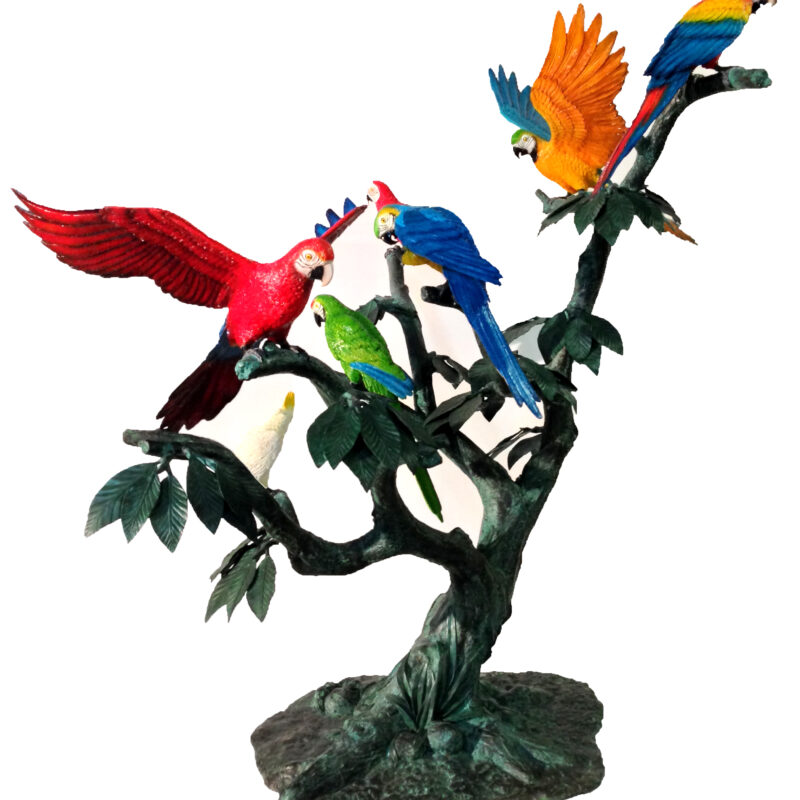 SRB47401 Bronze Parrots in Tree Sculpture Metropolitan Galleries Inc.