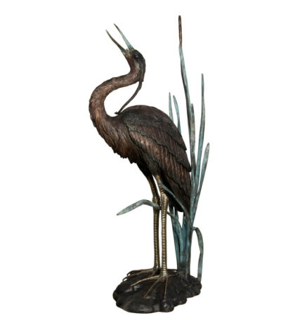 SRB022010 Bronze Heron Fountain Sculpture Metropolitan Galleries Inc.