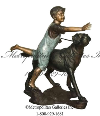 SRB029524 Bronze Boy running with Dog Sculpture Metropolitan Galleries Inc.