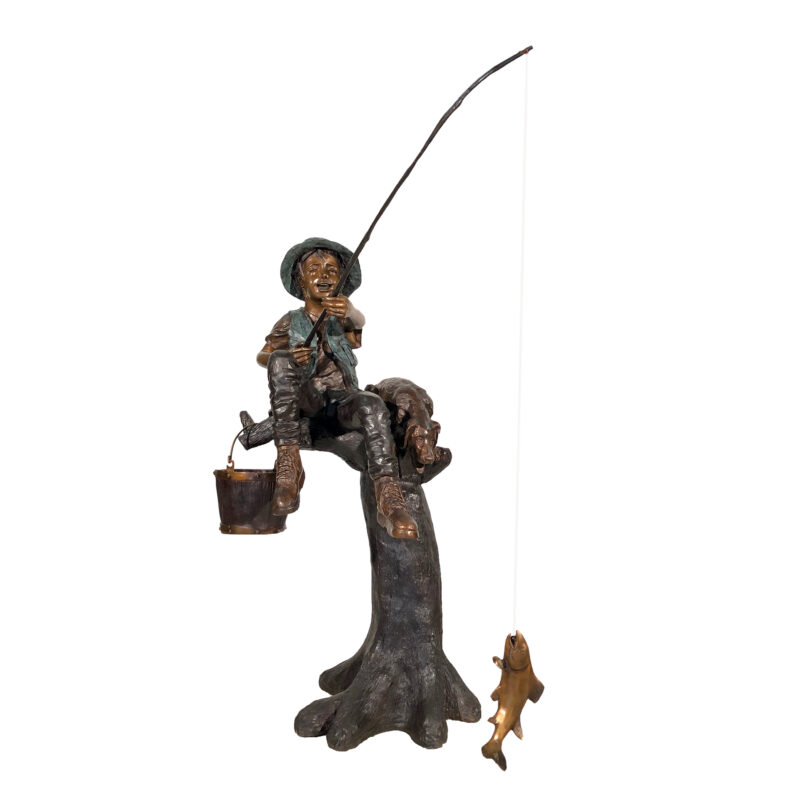 SRB050205 Bronze Boy & Dog Fishing on Log Sculpture by Metropolitan Galleries Inc