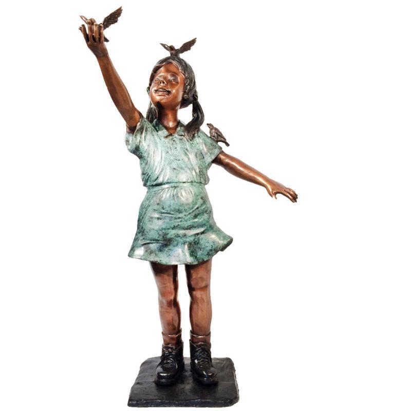 SRB050360 Bronze Girl with Three Birds Sculpture Metropolitan Galleries Inc.