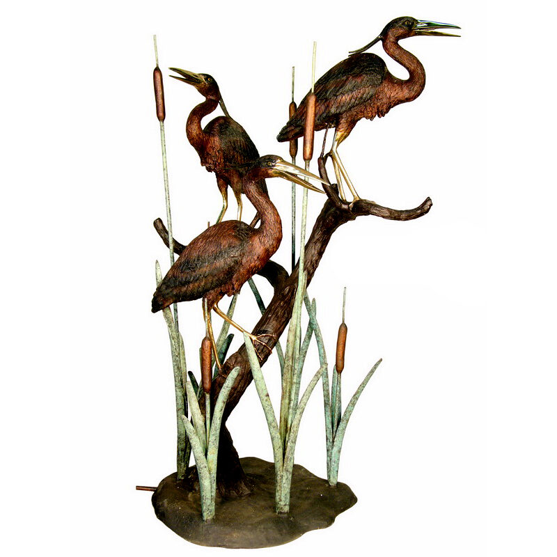 SRB075055 Bronze Three Herons Fountain Sculpture by Metropolitan Galleries Inc