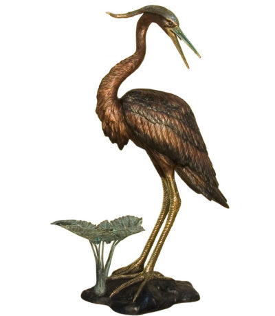 SRB081183 Bronze Heron Fountain Sculpture facing Right Metropolitan Galleries Inc.