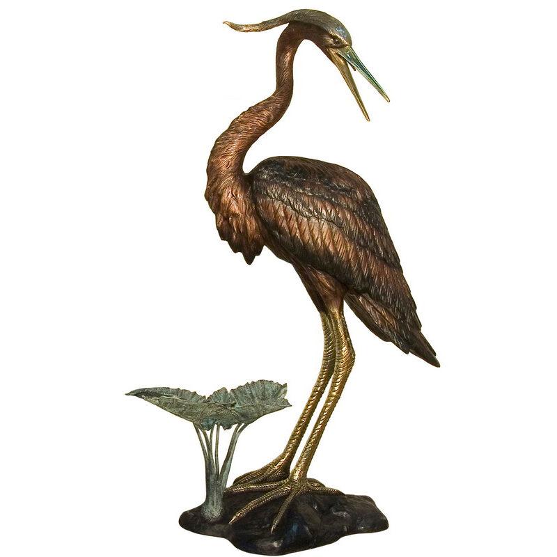 SRB081183 Bronze Heron Fountain Sculpture facing Right Metropolitan Galleries Inc.