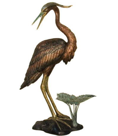 SRB081185 Bronze Heron Fountain Sculpture facing Left Metropolitan Galleries Inc.