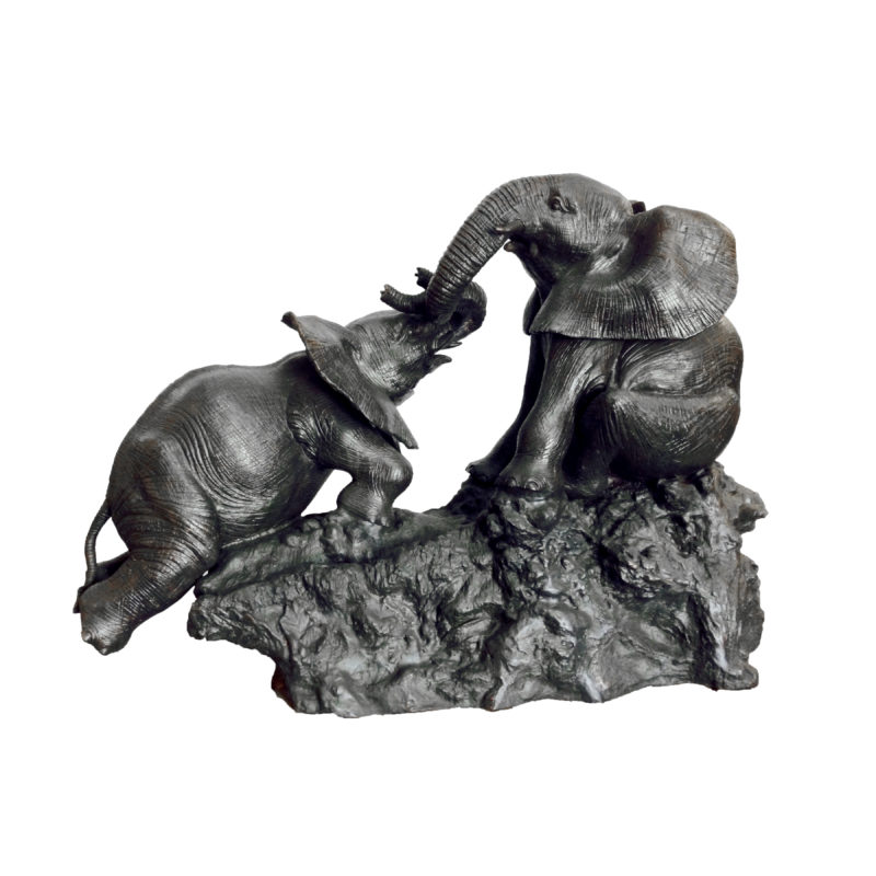 SRB10011 Bronze Playing Elephants Sculpture by Metropolitan Galleries Inc
