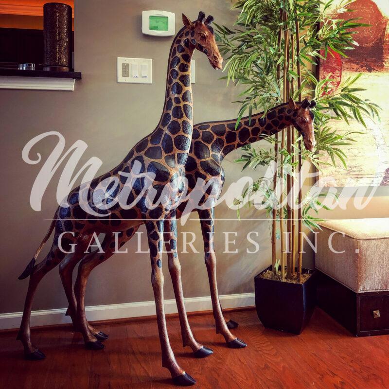 SRB10057 Bronze Medium Griaffe Sculpture Set by Metropolitan Galleries Inc Vignette WM