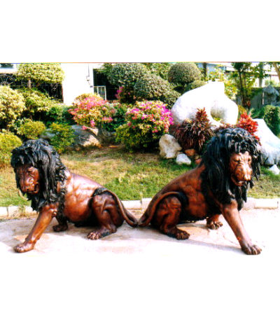SRB10062 Bronze Lions Sculpture Set Metropolitan Galleries Inc.