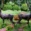 SRB10069 Bronze Deer Sculpture Pair Metropolitan Galleries Inc.