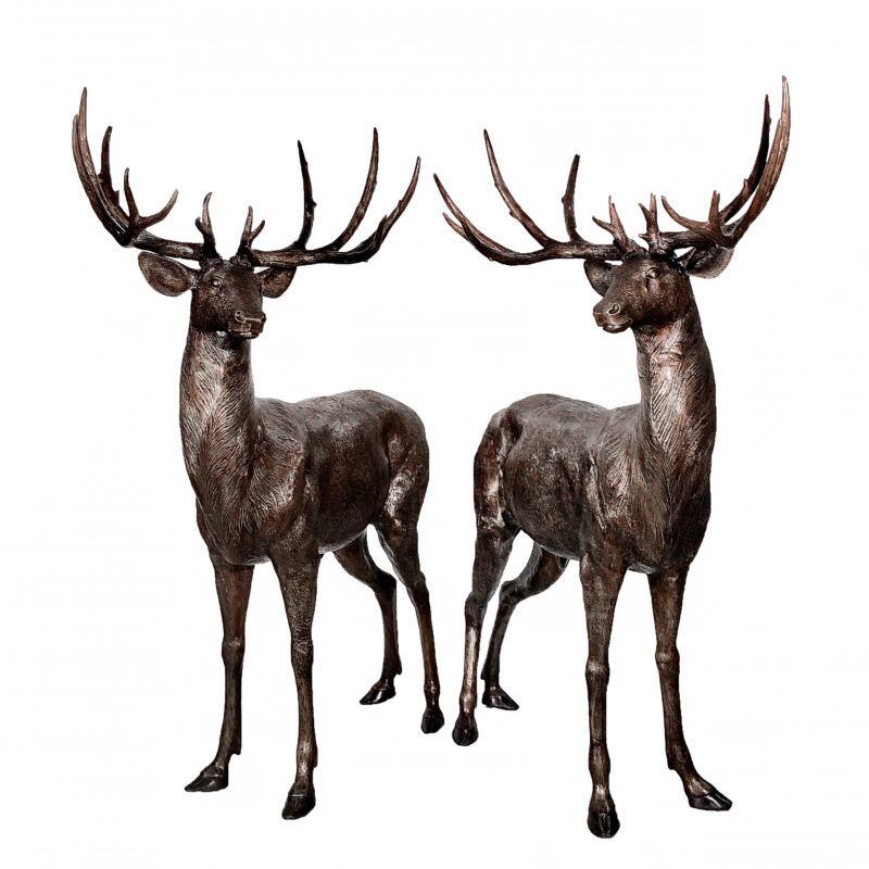 SRB10069 Bronze Deer Sculpture Pair Dark Patina by Metropolitan Galleries Inc