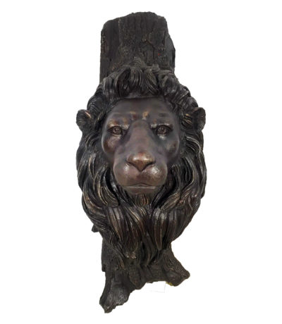 SRB10071 Bronze Lion Face Sculpture Metropolitan Galleries Inc.