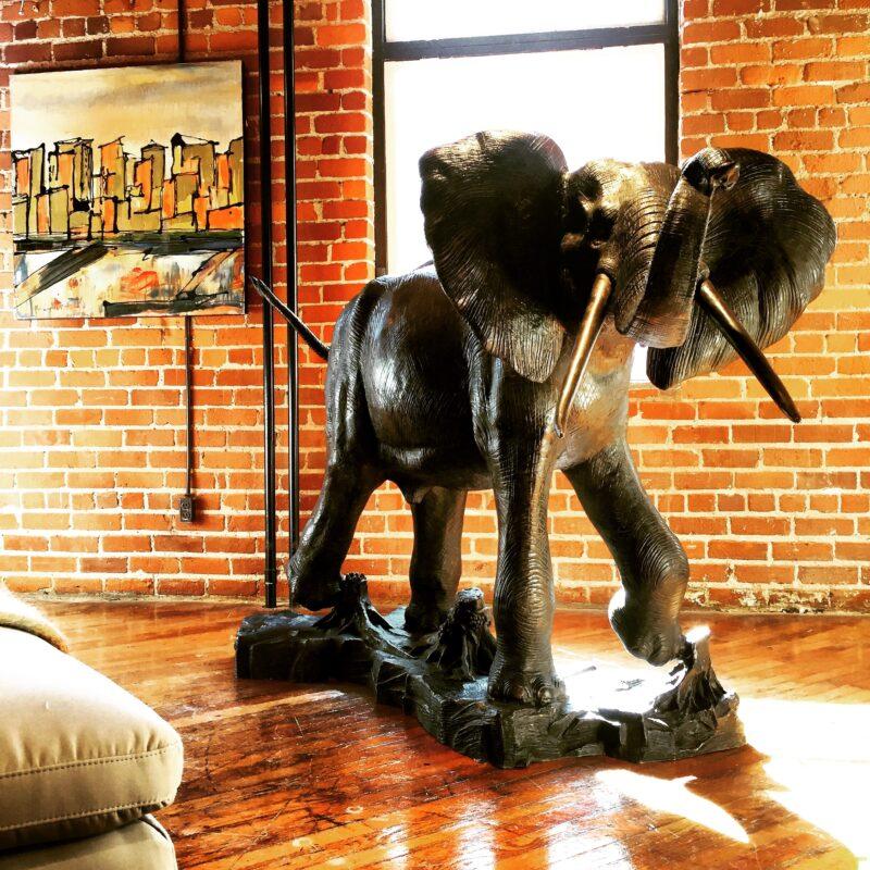 Large Bronze Elephant Sculpture Statue Metropolitan Galleries Inc. Decorative Bronze Statuary