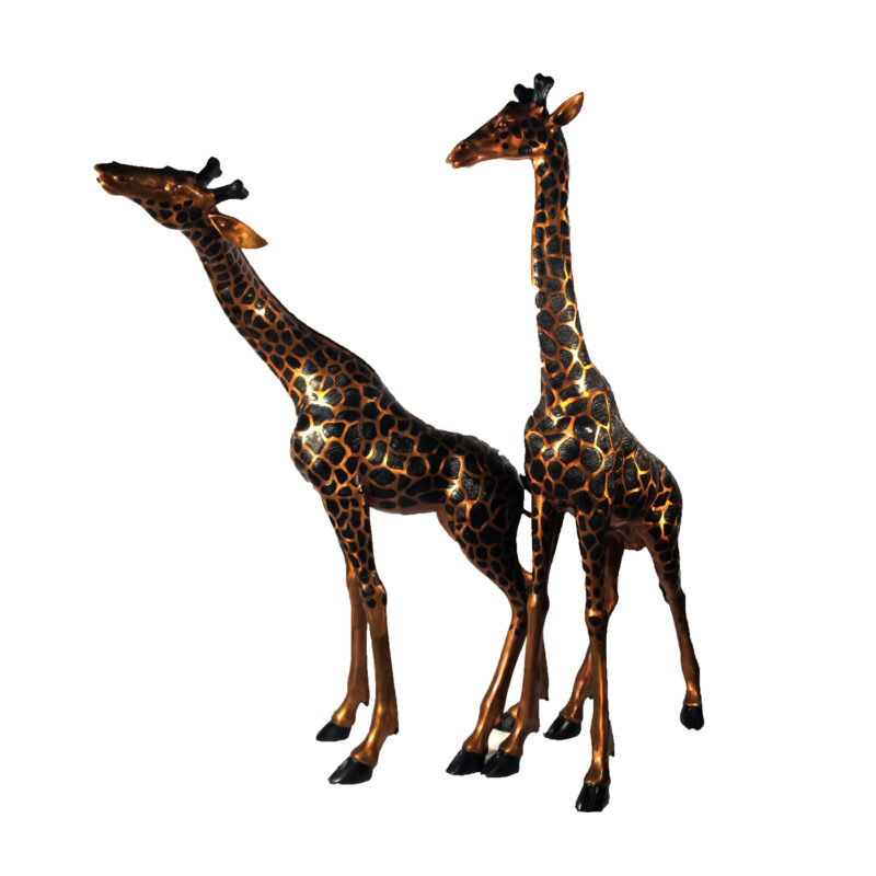 SRB15043 Bronze Giraffe Sculpture Set by Metropolitan Galleries Inc Life-size Giraffe Pair