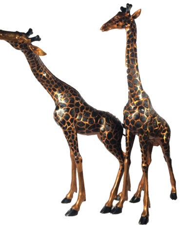 SRB15043 Bronze Giraffe Sculpture Set Metropolitan Galleries Inc.