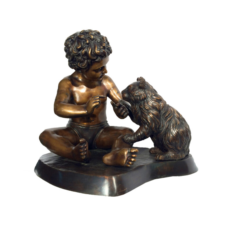 SRB25130 Bronze Child & Cat Sculpture Metropolitan Galleries Inc.