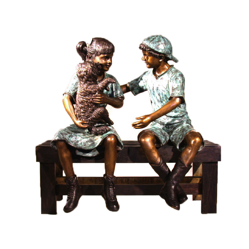 SRB25137 Bronze Boy & Girl with Dog on Bench Sculpture by Metropolitan Galleries Inc