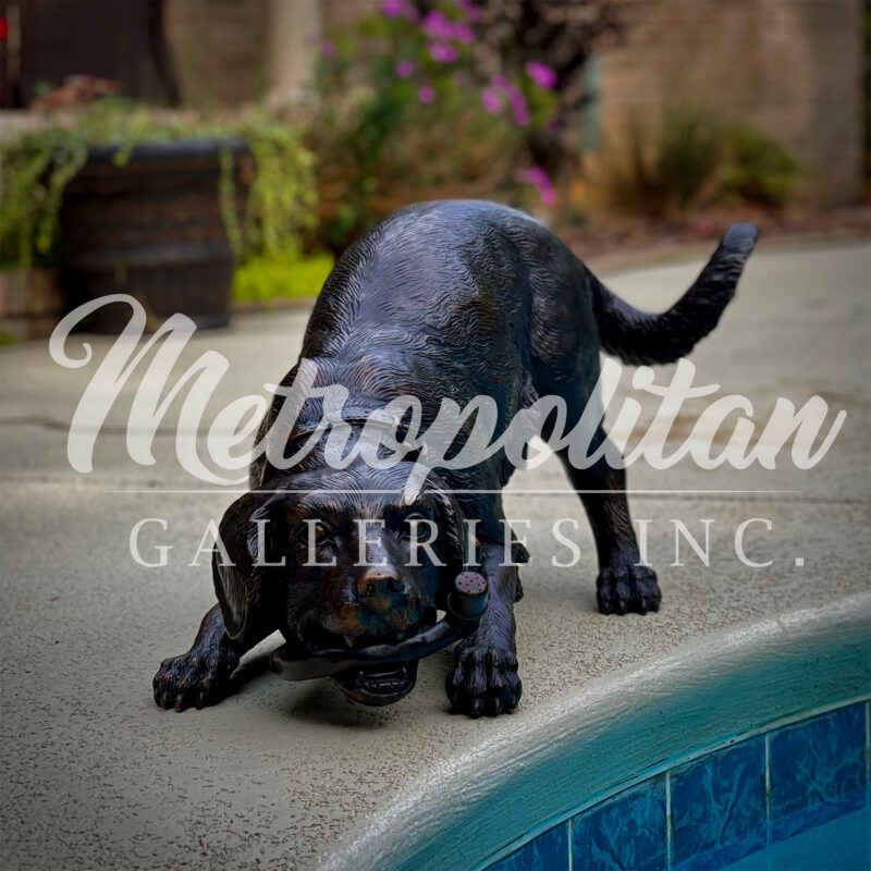 SRB25396 Bronze Golden Retriever Puppy with Garden Hose Fountain Sculpture by Metropolitan Galleries Inc Vignette WM