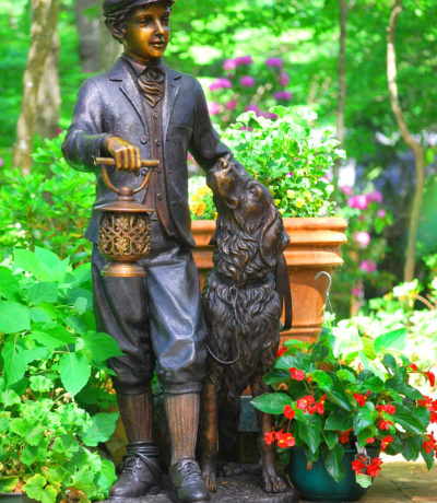 Cast Bronze Sculpture Lantern Man with Dog Bronze Sculpture Metropolitan Galleries Inc.