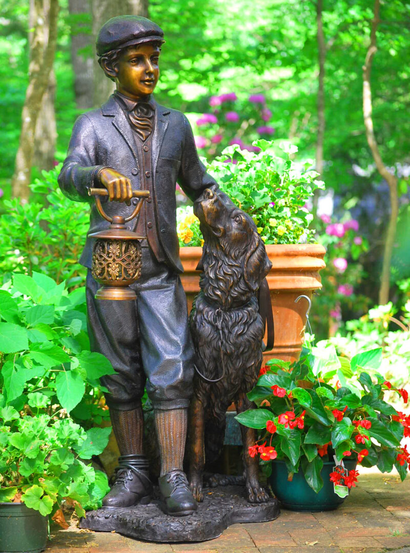 SRB25447 Bronze Man & Dog with Lantern Sculpture Metropolitan Galleries Inc.