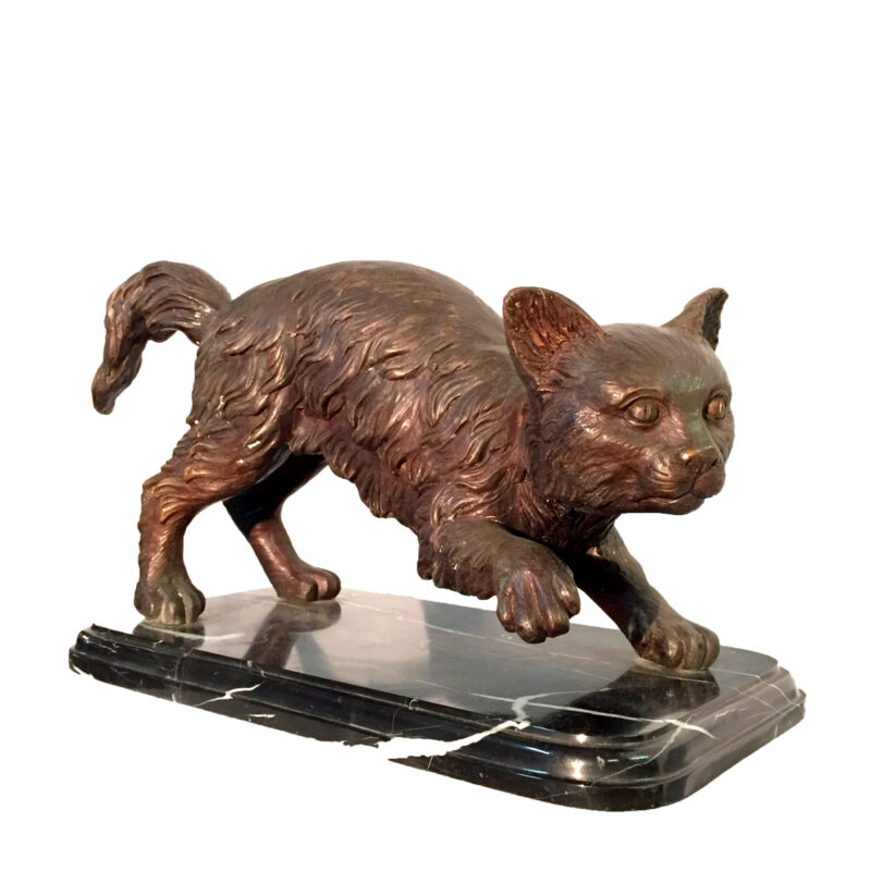 SRB30431 Bronze Cat Sculpture on Marble Base Metropolitan Galleries Inc.