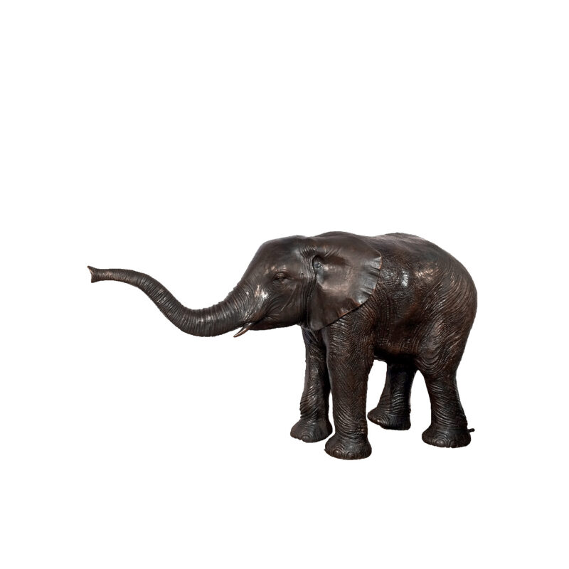 SRB46954A Bronze Baby Elephant with Trunk Up Fountain Sculpture by Metropolitan Galleries Inc