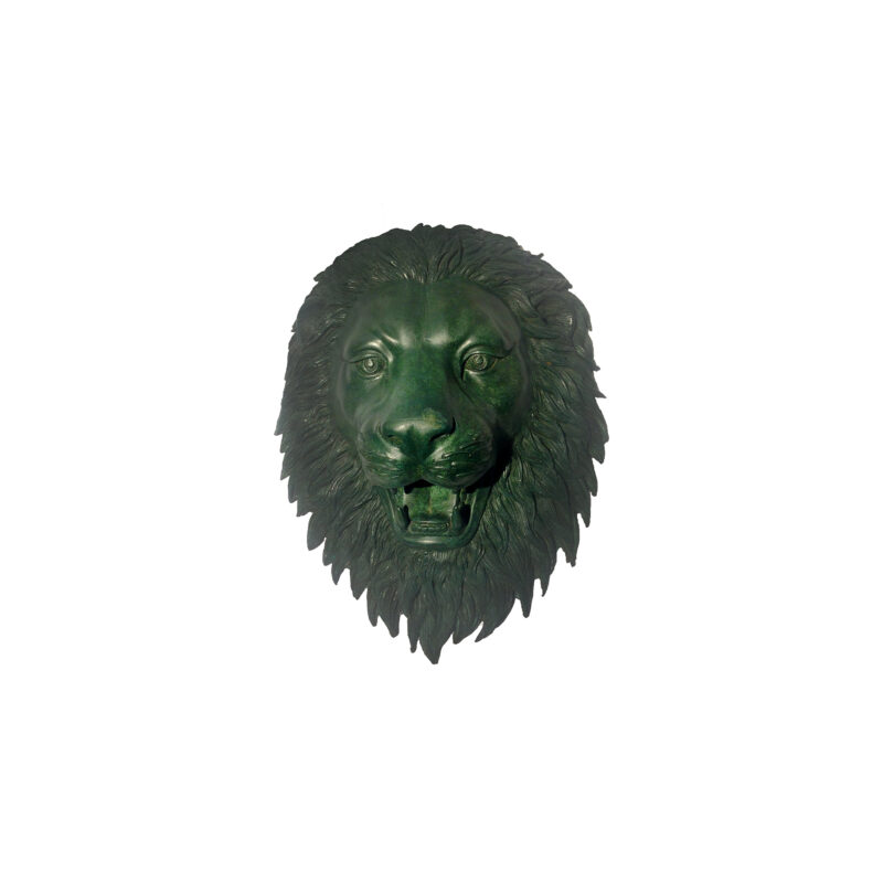 SRB47243-G Bronze Lion Face Wall Fountain Sculpture in Green Patina by Metropolitan Galleries Inc