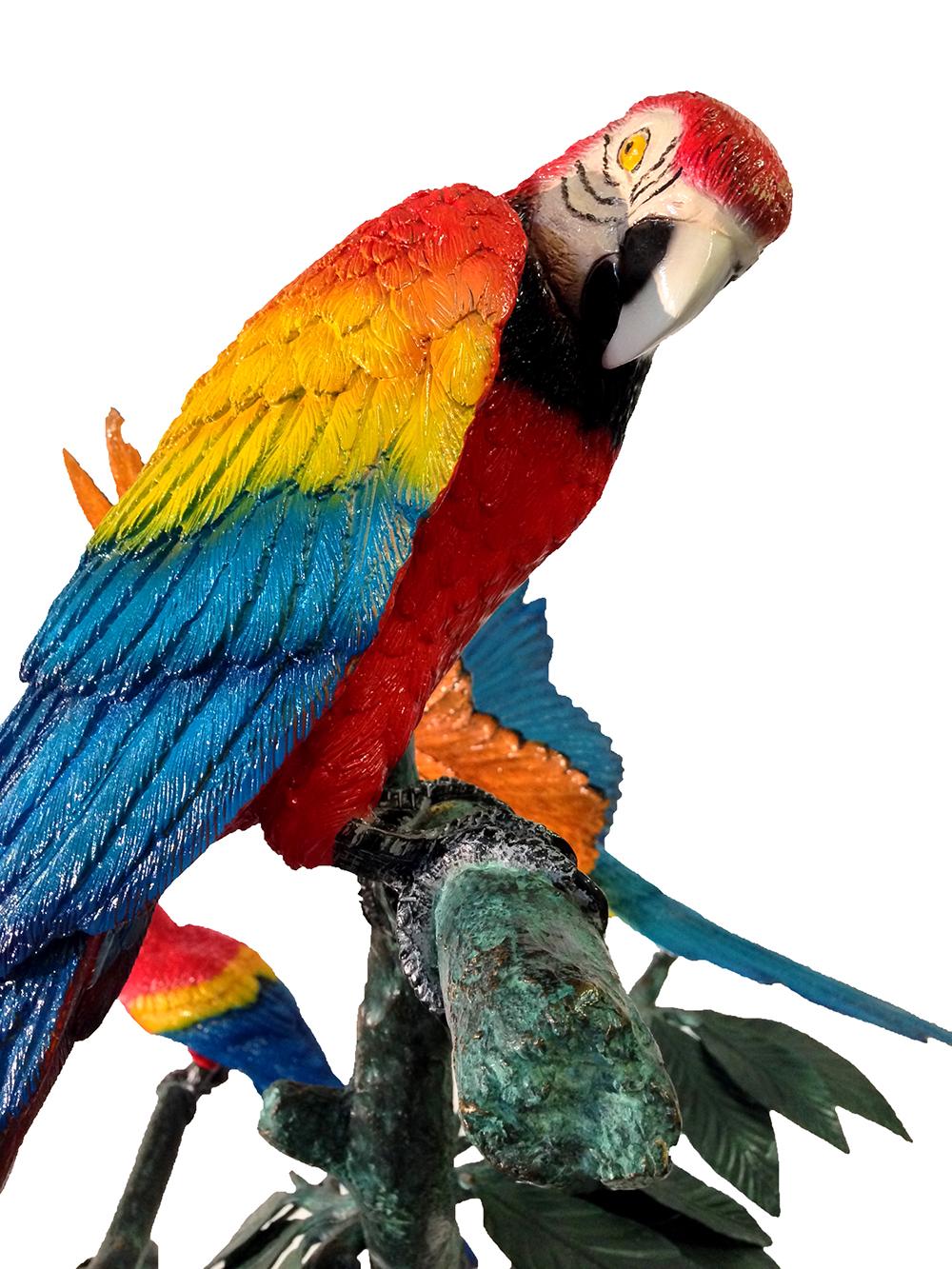 Bronze Parrots In Tree Sculpture Metropolitan Galleries Inc