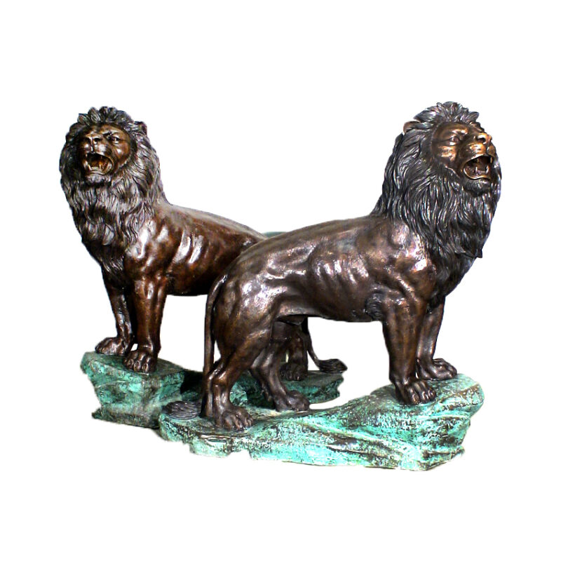 SRB47643-LG Bronze Standing Lions on Rock Sculpture Pair by Metropolitan Galleries Inc