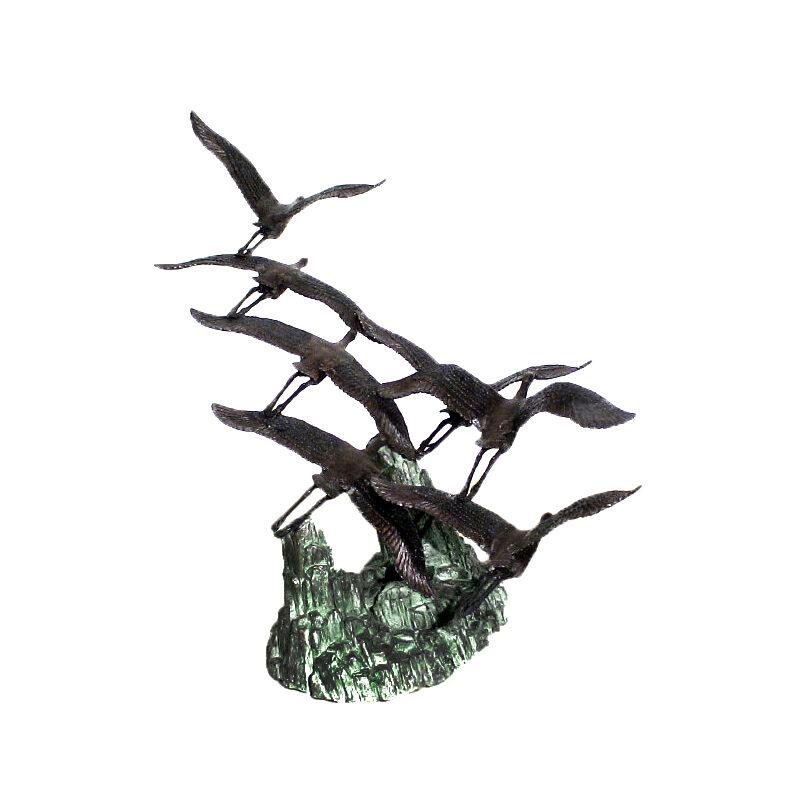 SRB48037 Bronze Seven Flying Herons on Rock Sculpture by Metropolitan Galleries Inc