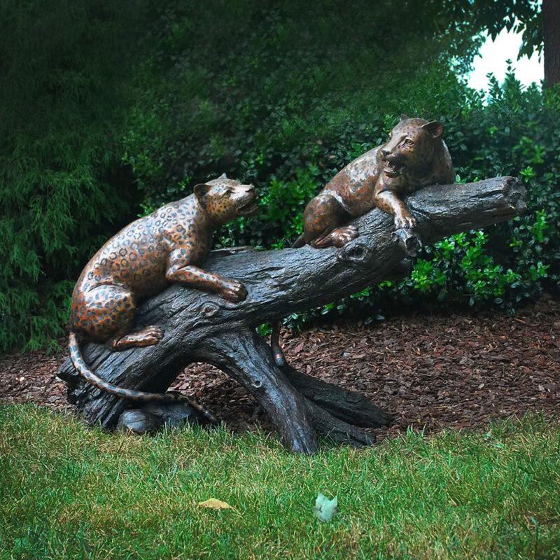 SRB48237 Bronze Leopards on Branch Sculpture by Metropolitan Galleries Inc