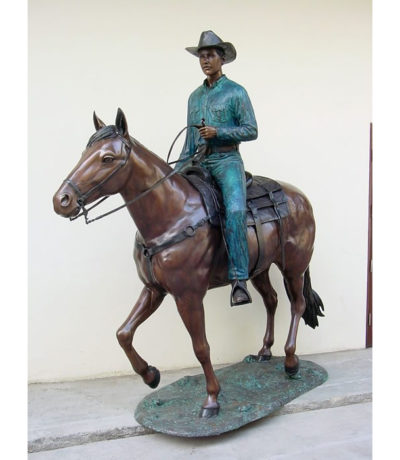 SRB48941 Bronze Cowboy on Horse Sculpture Metropolitan Galleries Inc.