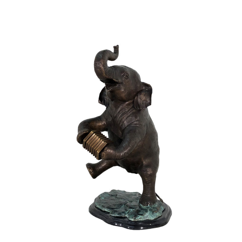 SRB49139 Bronze Elephant playing Accordion Table top Sculpture by Metropolitan Galleries Inc