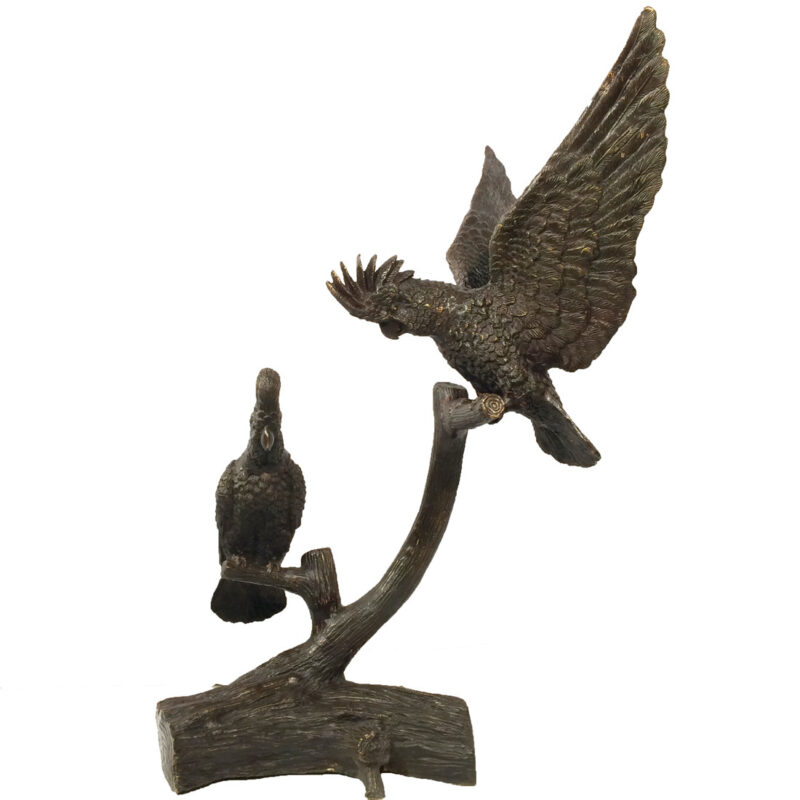 SRB15022 Bronze Parrots on Limb Sculpture Metropolitan Galleries Inc.