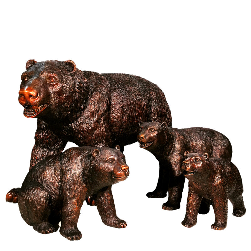 SRB25126-9 Mother Bear & Three Cubs Bronze Sculpture Set Metropolitan Galleries Inc.