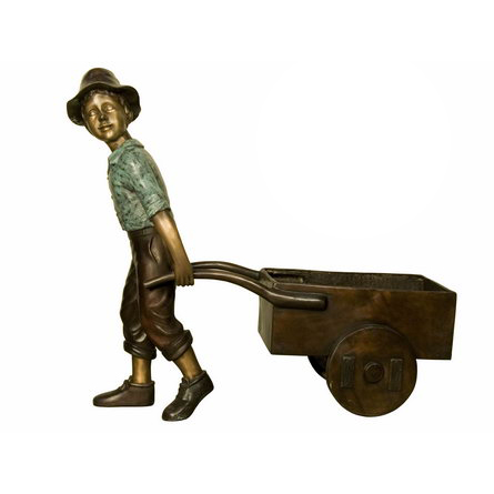 SRB018009 Bronze Boy pulling Wagon Sculpture Metropolitan Galleries Inc
