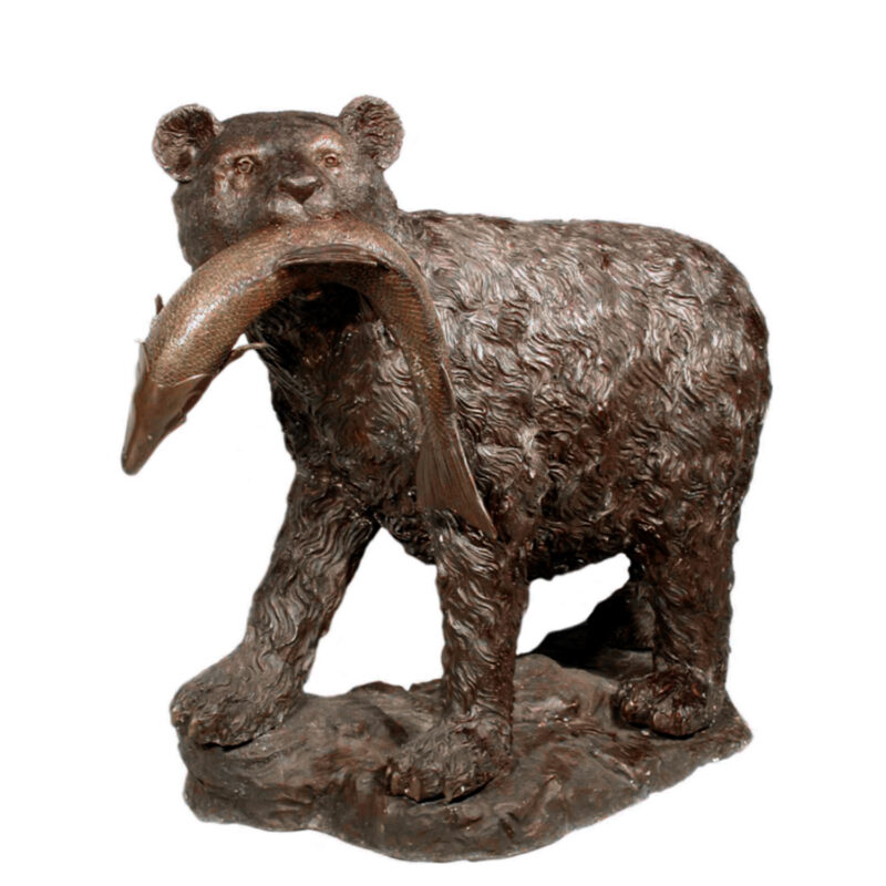 SRB028565 Bronze Bear with Fish Sculpture Metropolitan Galleries Inc.
