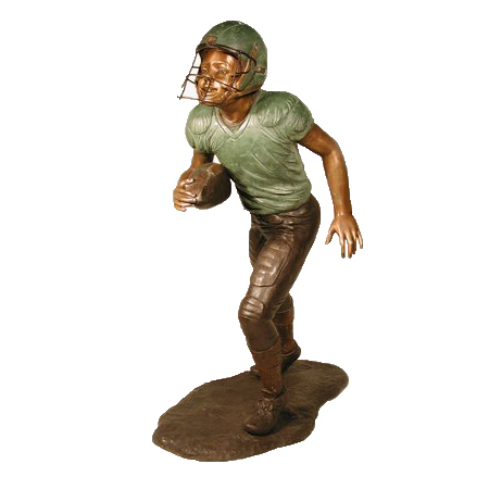 SRB050110 Bronze Football Player Running Sculpture Metropolitan Galleries Inc.