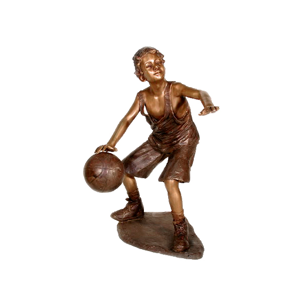 SRB050120 Bronze Boy playing Basketball Sculpture by Metropolitan Galleries Inc