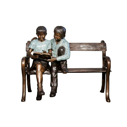 SRB050645 Bronze Children Reading on Bench Sculpture Metropolitan Galleries Inc.