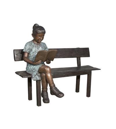 SRB050656 Bronze Girl Reading Book on Bench Sculpture Metropolitan Galleries Inc.