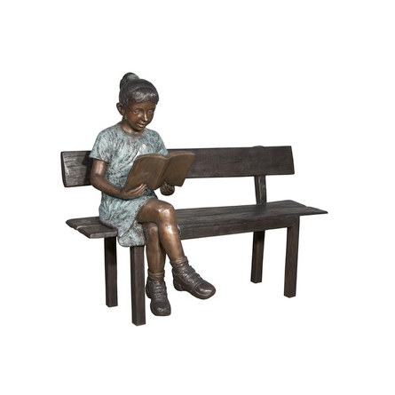 SRB050656 Bronze Girl Reading Book on Bench Sculpture Metropolitan Galleries Inc.