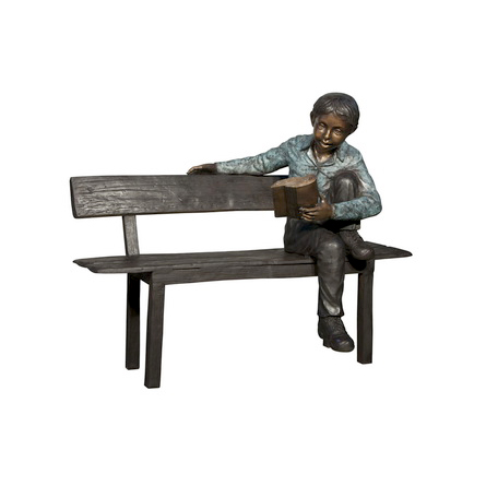 SRB050658 Bronze Boy Reading on Bench Sculpture Metropolitan Galleries Inc.