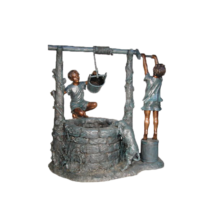 SRB055155 Bronze Children at Water Well Sculpture by Metropolitan Galleries Inc