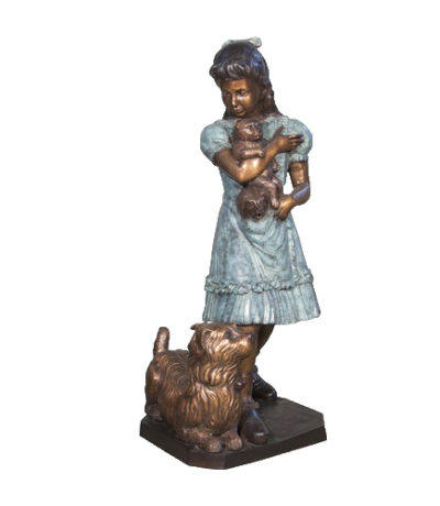 SRB056612 Bronze Girl with Dog & Teddybear Sculpture Metropolitan Galleries Inc.
