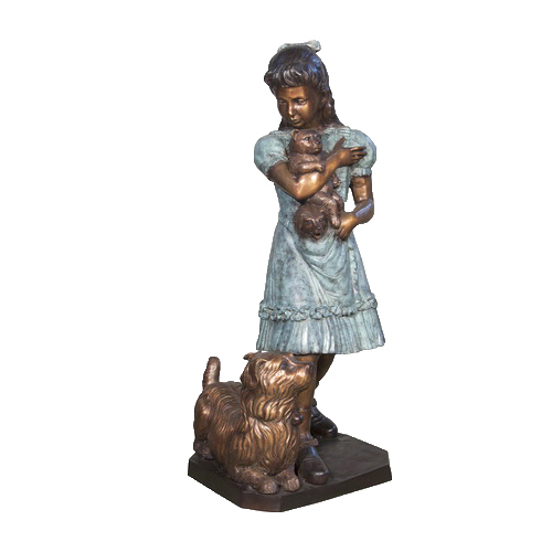 SRB056612 Bronze Girl with Dog & Teddybear Sculpture Metropolitan Galleries Inc.