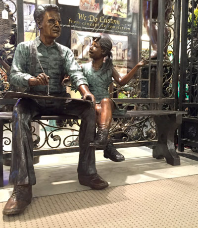 Cast Bronze Grandfather Drawing with Granddaughter Statue by Metropolitan Galleries. We offer a large bronze statue and bronze fountain selection in N.C.