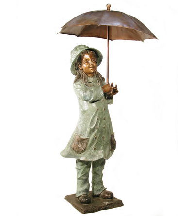 SRB074120 Bronze Girl in Raincoat with Umbrella Sculpture Metropolitan Galleries Inc.