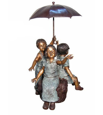 SRB074300 Bronze Three Kids under Umbrella Sculpture Metropolitan Galleries Inc.